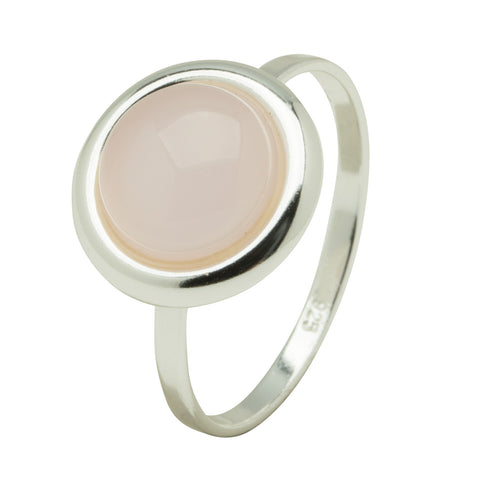 Rose Quartz Bezel Ring