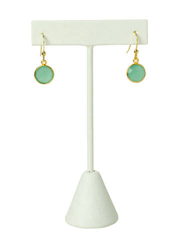 Chalcedony Bezel Drop Earrings