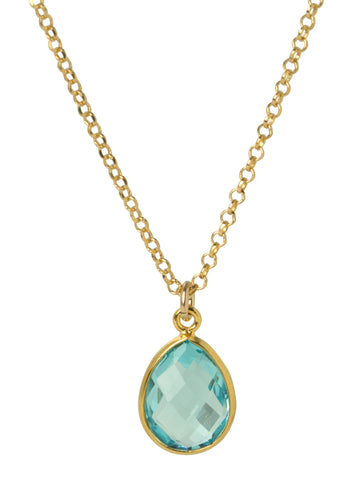 Blue Quartz Teardrop Bezel Necklace