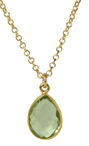 Peridot Green Teardrop Bezel Necklace