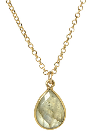 Labradorite Teardrop Bezel Necklace