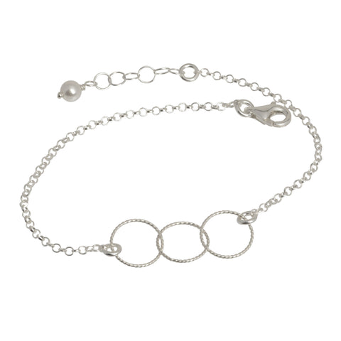 Three Circles Silver Chain Bracelet