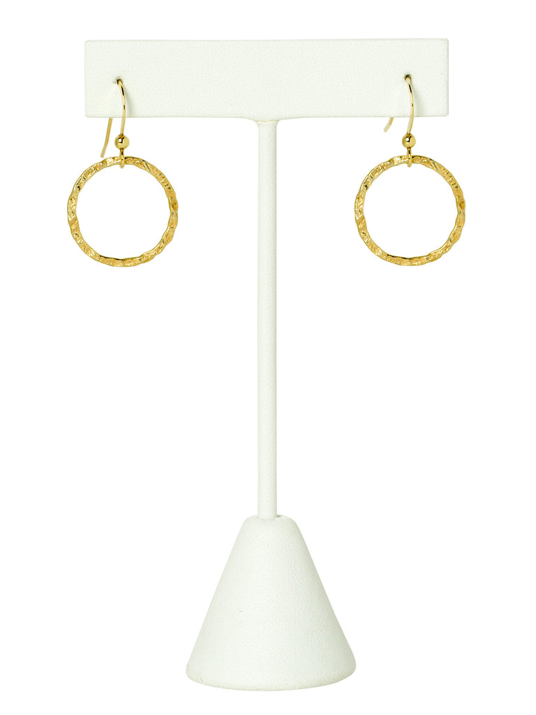 Hammered Gold Circle Earrings