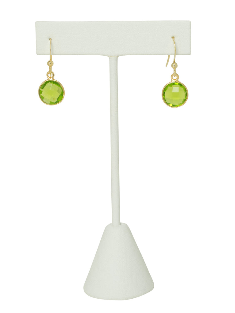Peridot Bezel Drop Earrings