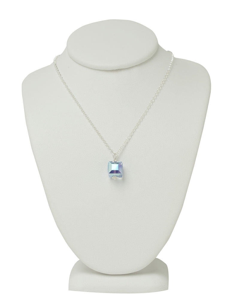 Light Sapphire Blue Cube Necklace