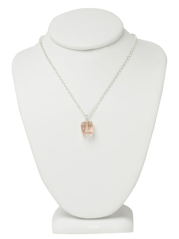 Peach Crystal Cube Necklace
