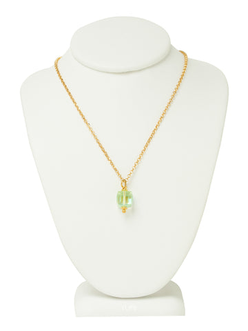 Peridot Green Crystal Cube Necklace