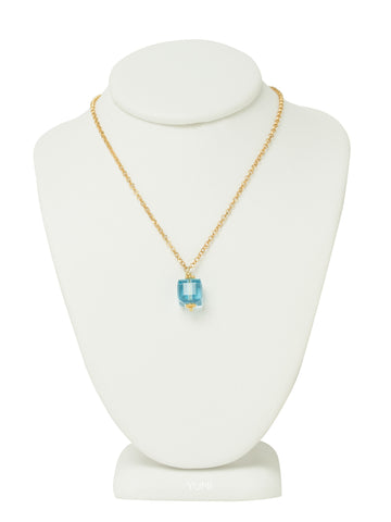 Aquamarine Blue Crystal Cube Necklace