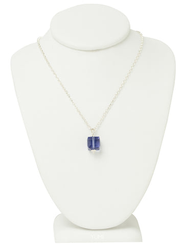 Tanzanite Purple Crystal Cube Necklace