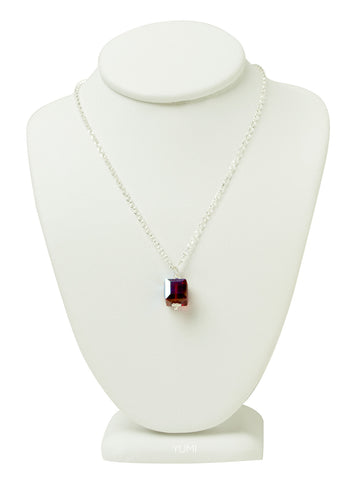Ruby Red Crystal Cube Necklace