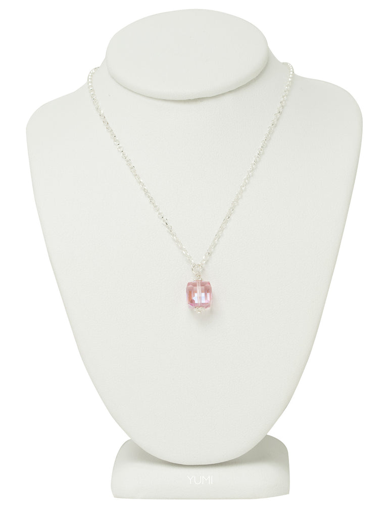Rose Pink Crystal Cube Necklace