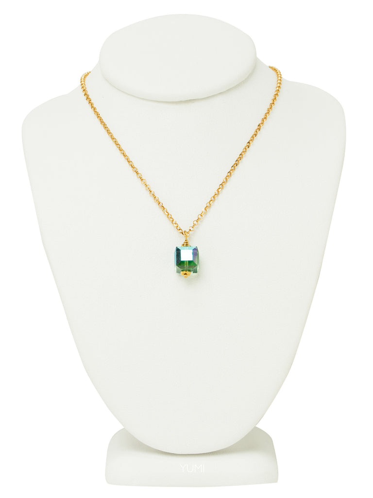 Fern Green Crystal Cube Necklace