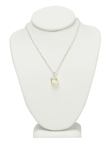 Jonquil Yellow Crystal Cube Necklace