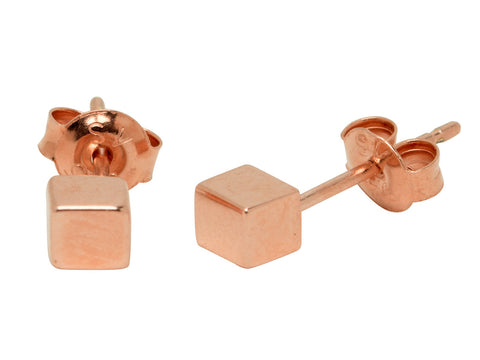 Rose Gold Cube Stud Earrings