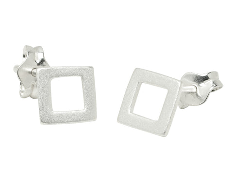 Tiny Silver Square Stud Earrings