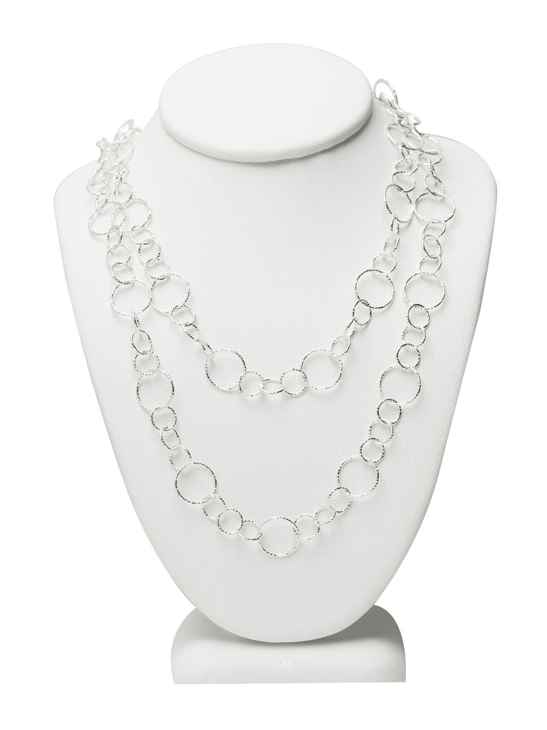 Long Silver Shimmer Circle Chain Necklace