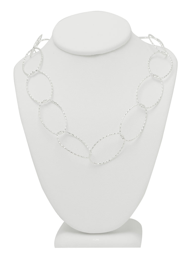 Silver Shimmer Oval Chain Necklace