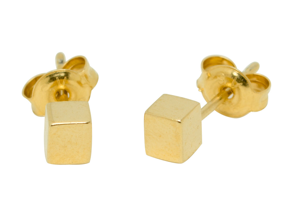 Gold Cube Stud Earrings