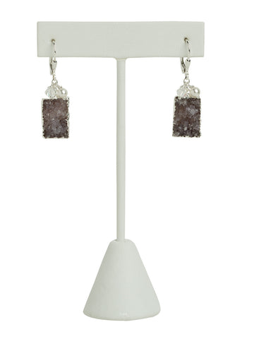 Druzy Quartz Rectangle Earrings