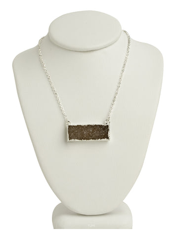 Druzy Quartz Bar Necklace - Dark Brown