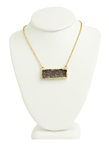 Druzy Quartz Bar Necklace - Purple/Black