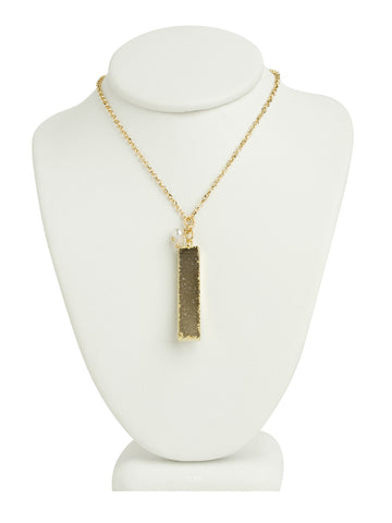 Druzy Quartz Line Necklace - Grey/Brown