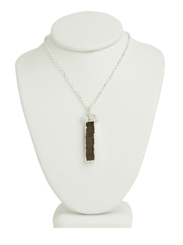 Druzy Quartz Line Necklace - Dark Brown