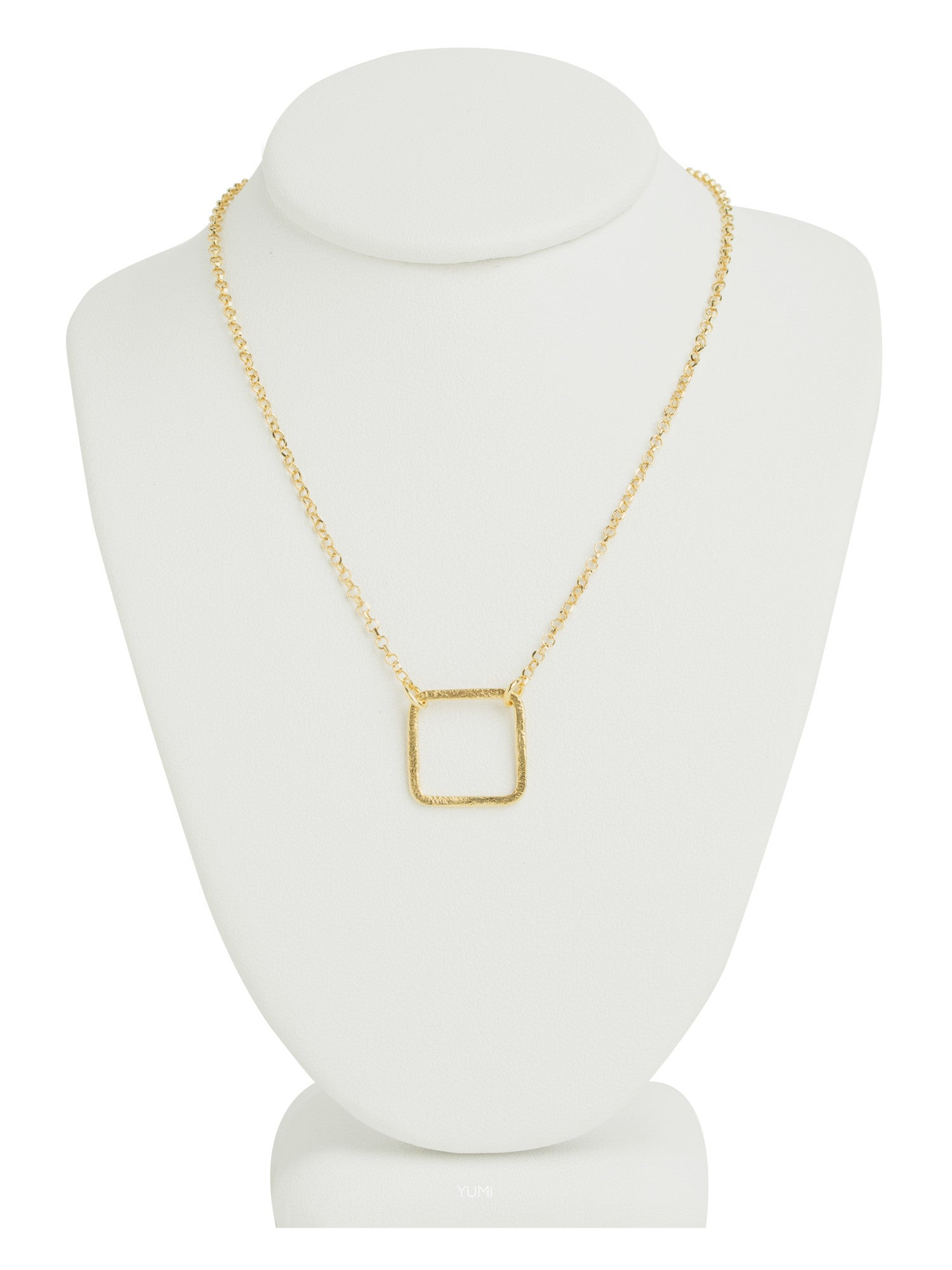gold pendant product metallic necklace square ginette lyst jewelry ny rose pink in normal