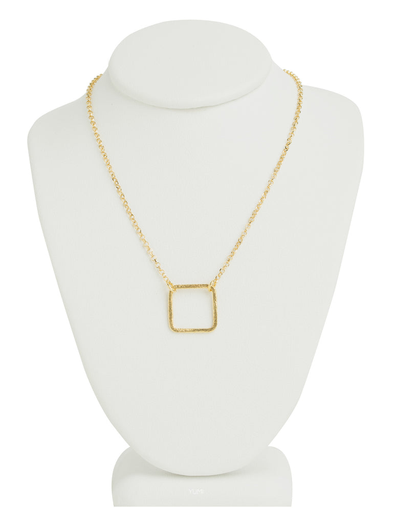 Small Gold Square Necklace
