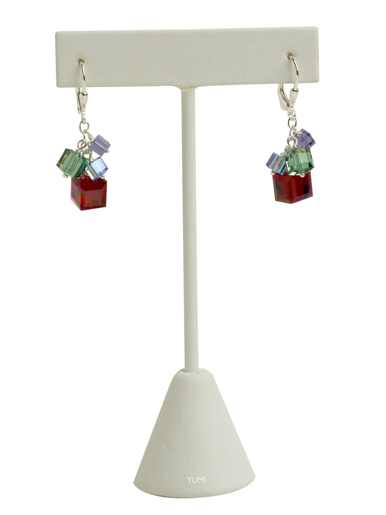 Holiday Swarovski Crystal Cube Earrings