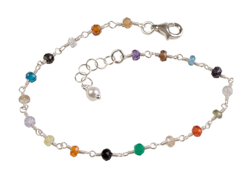 Silver Multi-Gemstone Wire Wrapped Bracelet
