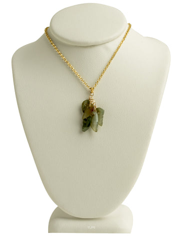 Jade Leaves Charm Necklace