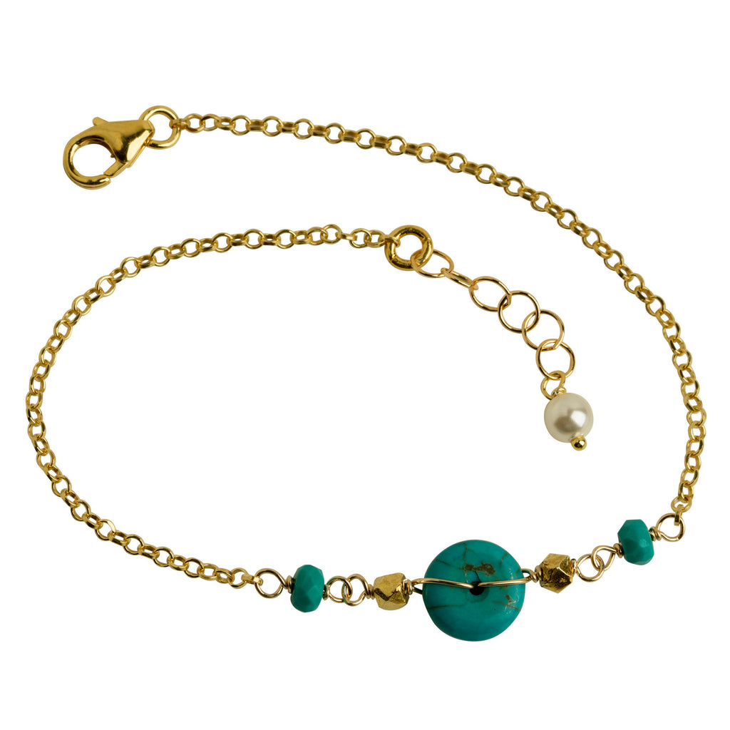 Turquoise Coin + Gold Nugget Bracelet