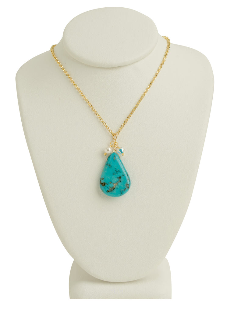 Turquoise Teardrop Stone Necklace