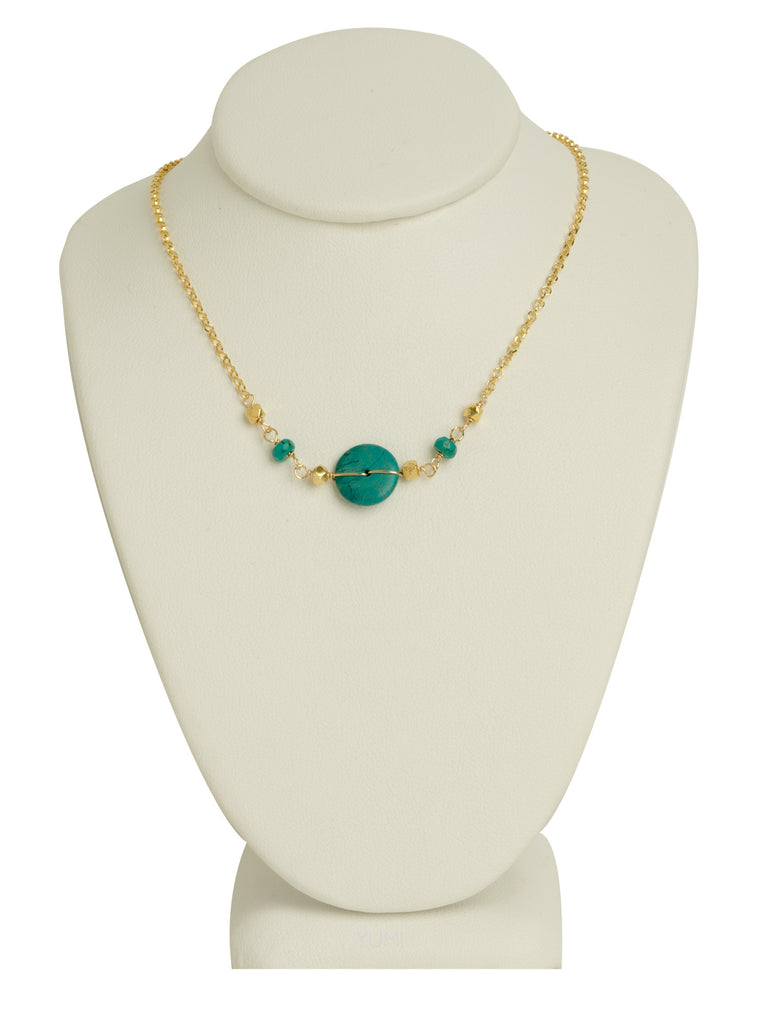 Turquoise Coin + Golden Nugget Necklace