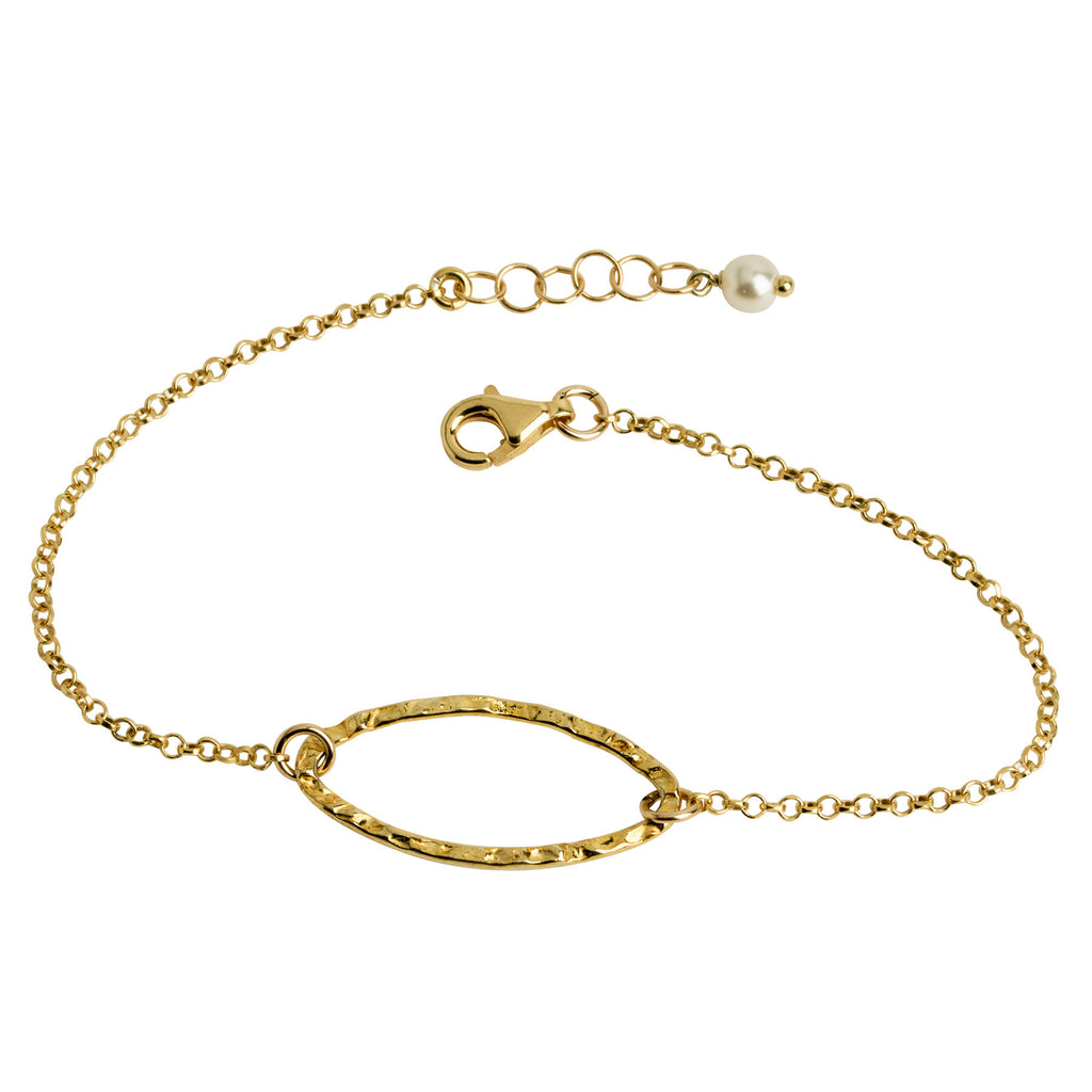 Gold Hammered Oval Bracelet