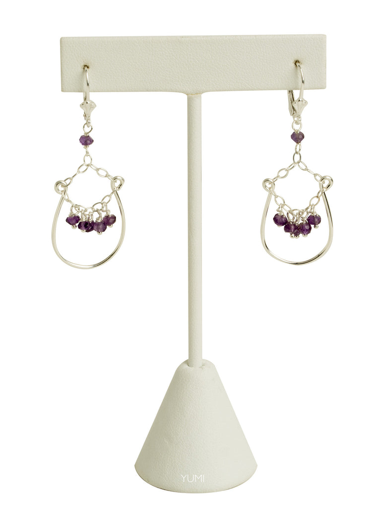 Amethyst Chandelier Wire Earrings