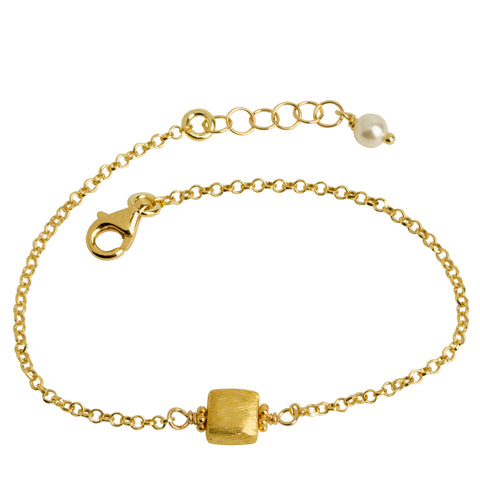 Gold Brushed Metal Cube Bracelet
