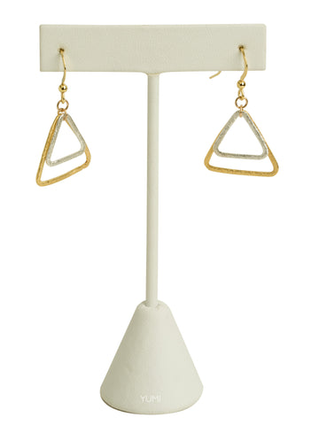 Silver + Gold Triangle Earrings