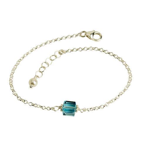 Aquamarine Blue Crystal Cube Chain Bracelet