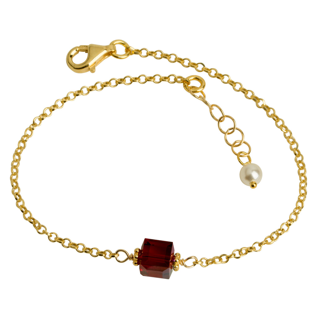 Ruby Red Crystal Cube Chain Bracelet