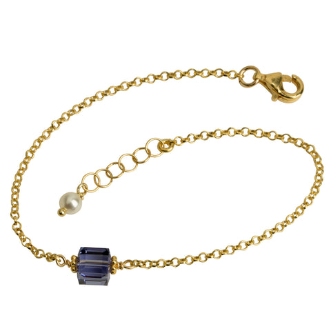 Tanzanite Purple Crystal Cube Chain Bracelet