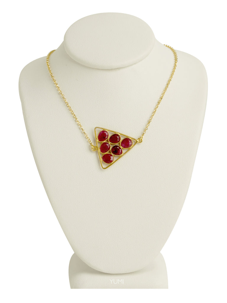 Garnet Triangle Cluster Necklace
