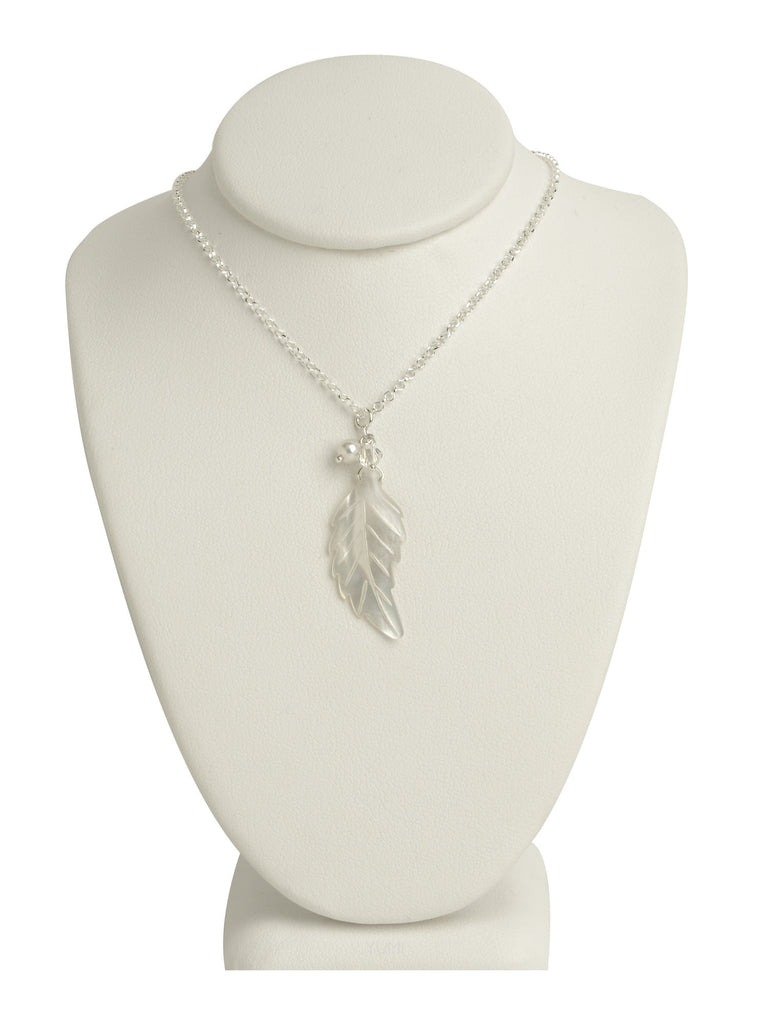 Magnolia Pearl Leaf Pendant Necklace