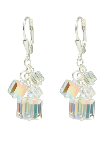 AB Swarovski Crystal Cube Earrings
