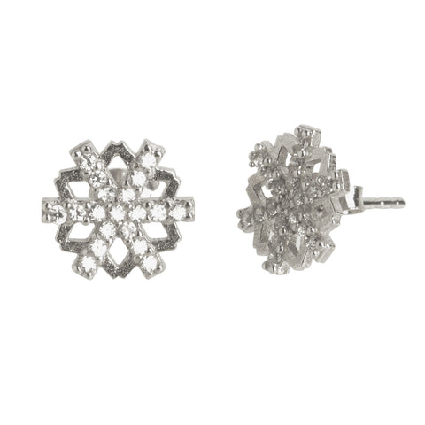 Floral CZ Snowflake Stud Earrings