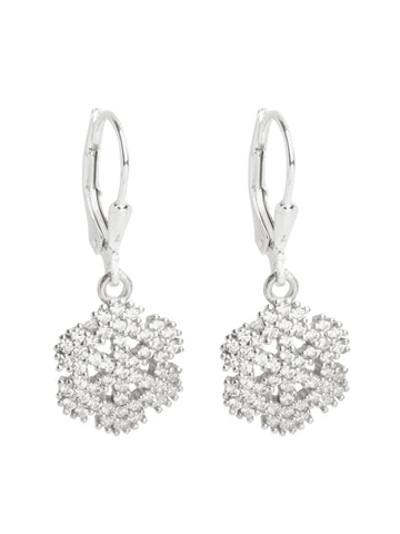 Snowflake Flower CZ Hanging Earrings