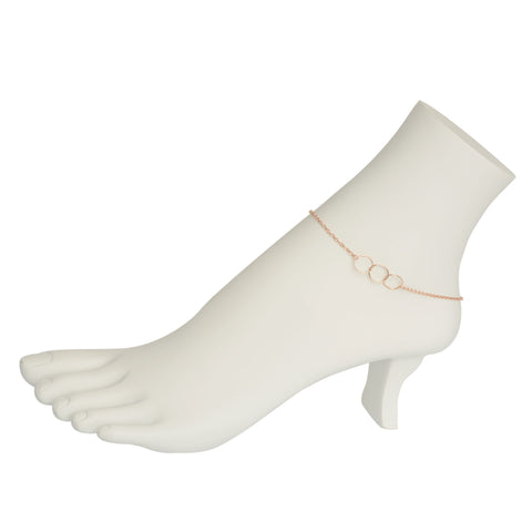 Rose Gold 3 Circle Anklet
