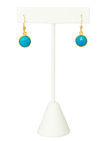 Turquoise Bezel Drop Earrings