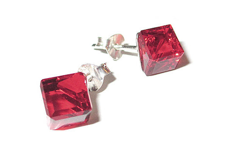 Red Cube Crystal Stud Earrings